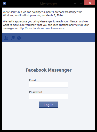 facebook messenger shutdown